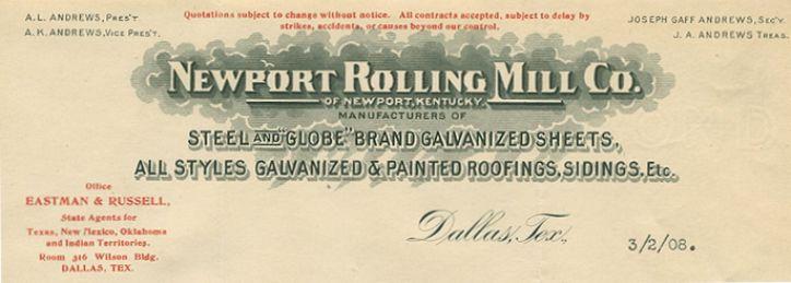 1907 Letterhead Dallas Texas Newport Kentucky Rolling Mill Company
